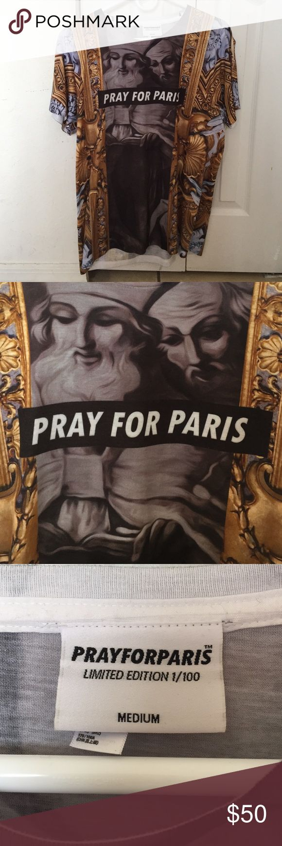 Pray for Paris Shirt Medium. Pray for Paris Tee. Pray for Paris Shirts Tees - Short Sleeve