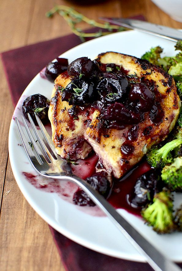 Chicken with Cherry-Wine Pan Sauce. You could totally substitute coconut butter, I'm going to. (A 20 Minute Meal!) | iowagirleats.com