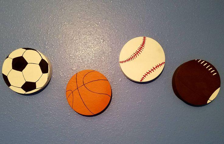 4 Sport Balls Hand Painted Wall Art - Basketball, Baseball, Soccer, Football by RisenSonCreationsCJS on Etsy