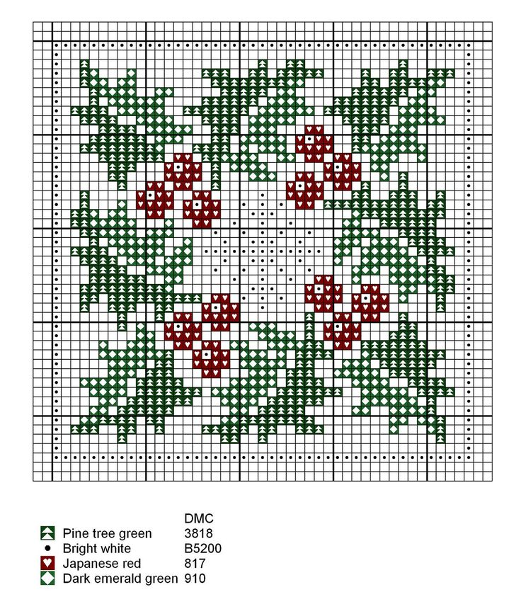 Holly & snowflake. Free sewing pattern graph.