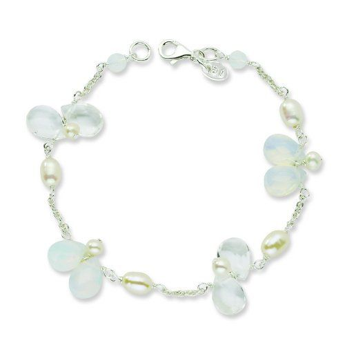 Sterling Silver FW Cultured Pearl/Clear & Opalite Crystal 7.5in Bracelet. Jewelrypot. $30.99. 100% Satisfaction Guarantee. Questions? Call 866-923-4446. 30 Day Money Back Guarantee. Fabulous Promotions and Discounts!. Your item will be shipped the same or next weekday!. All Genuine Diamonds, Gemstones, Materials, and Precious Metals. Save 60%!