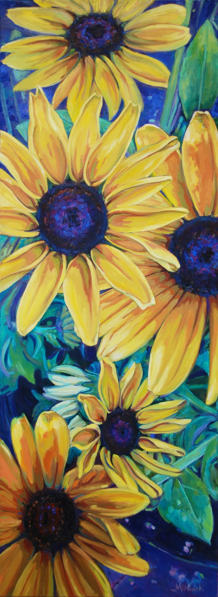 "My beautiful niece, Kathleen McNinch, took a series of photos of Black-eyed Suzies which resulted in this painting.  It's a big one, 48x18, titled ""Bloom Where You are Planted.""  http://www.michelmcninch.com"