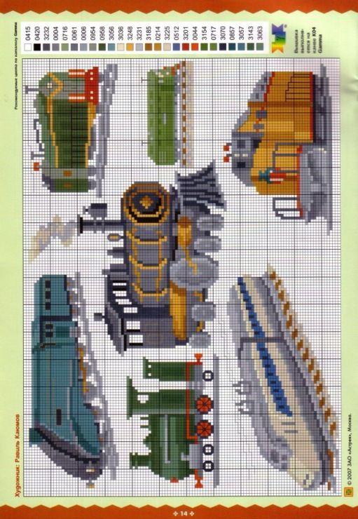 Cross stitch patterns for locomotives