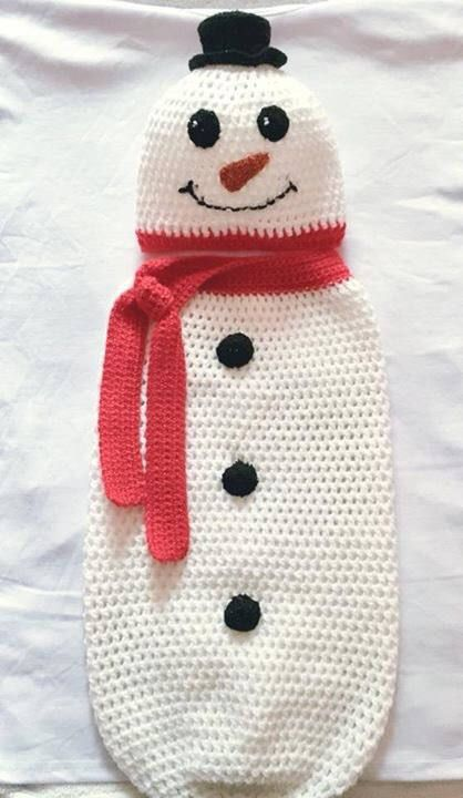 Excited to share the latest addition to my #etsy shop: Baby Crochet Snowman Cocoon, Winter Hat, Christmas Crochet, White, Red, Black Crichet Novelty Hat, Photo Prop 3-6mths Crochet, Handmade http://etsy.me/2AToJND #accessories #snugglephotoprop #crochetcacoon #red #bab
