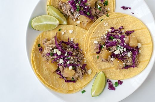 Jamaican jerk pineapple chicken slow cooker tacos