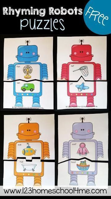 FREE Rhyming Robots Game is a fun way for preschool, prek, kindergarten, and first grade kids to practice rhyming. There are various levels to these free printable rhyming puzzles and lots of extension ideas. These are perfect for literacy centers, summer learning, homeschool, and so much more! SO CUTE!!