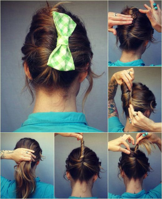 French twist and bow! This would be super-cute with that tiny, glittery gold bow I can never figure out what to do with.