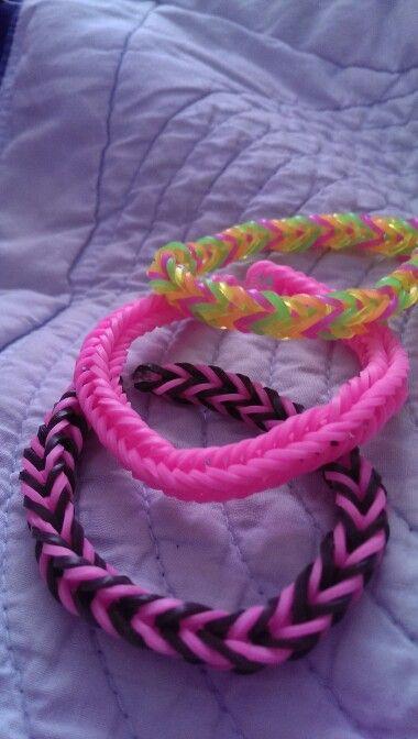 Handmade Rubber bands loom bracelet rainbow (by me)