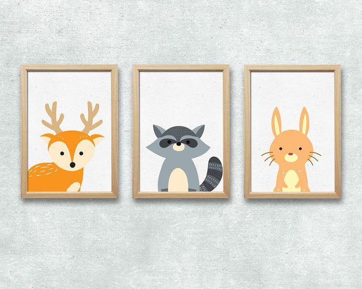 Wandbild Set für das Kinderzimmer mit drei Tieren aus dem Wald. Ein Hirsch, ein Waschbär und eine Hase sind hier zusammen zu sehen.