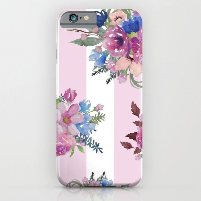 Vintage Floral with Pink stripes iPhone & iPod Case by The Willow Wood Studio   Society6