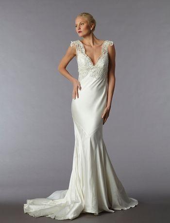 Bridal Gowns: Perla D by Pnina Tornai Sheath Wedding Dress with V-Neck Neckline and Empire Waist Waistline