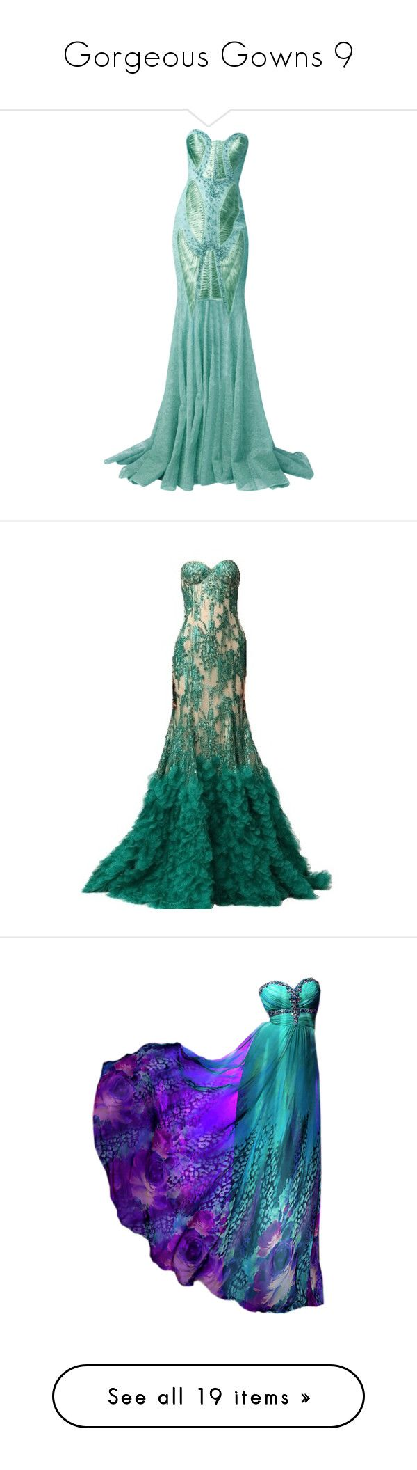 """""""Gorgeous Gowns 9"""" by jennziegirl ❤ liked on Polyvore featuring dresses, gowns, long dresses, vestidos, green gown, green evening gown, green dress, green ball gown, evening gowns and green"""