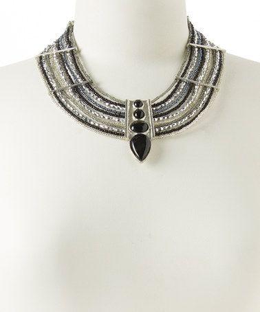 Loving this Silver & Black Statement Necklace on #zulily! #zulilyfinds