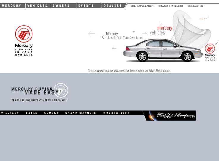 Mercury Vehicles website in 2001