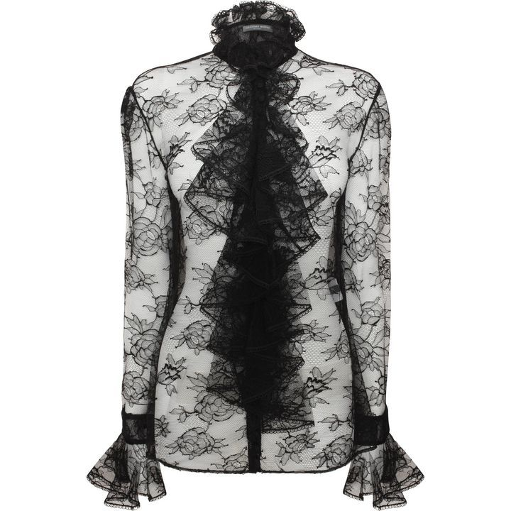 ALEXANDER MCQUEEN|Tops & Strickwaren|Rüschen-Shirt mit Chantilly Spitze