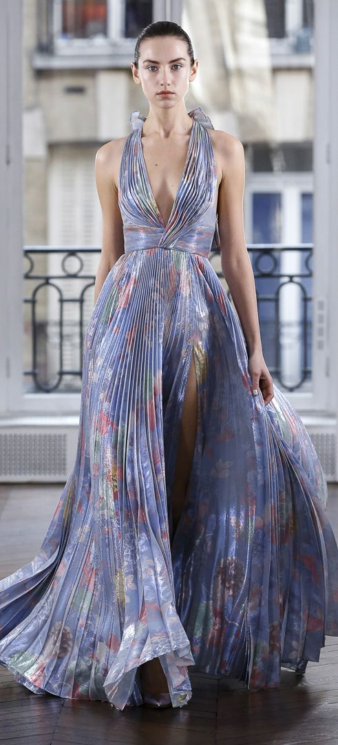Shimmering azure ice-pastel lamé pleated evening gown in floral ...