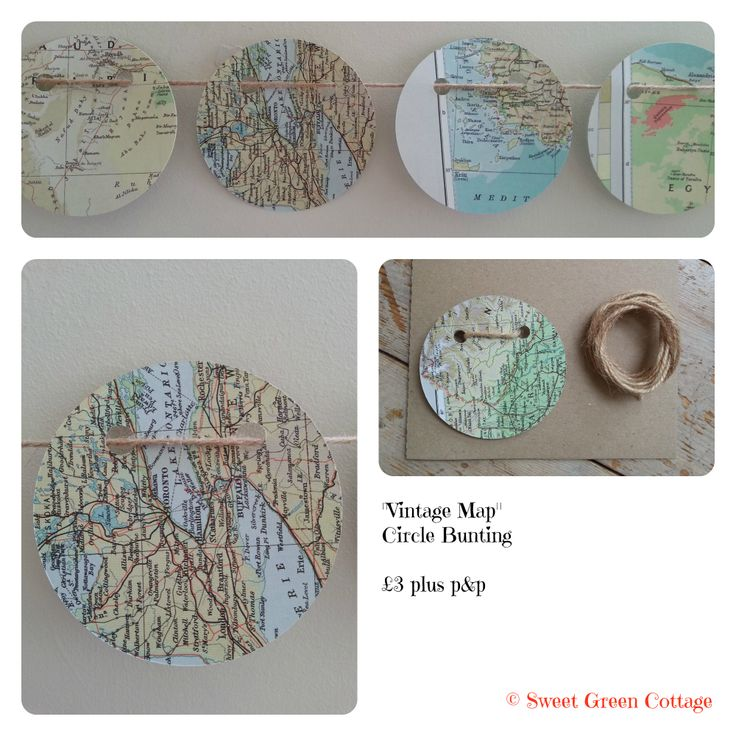 Circle bunting made with vintage maps vintage map