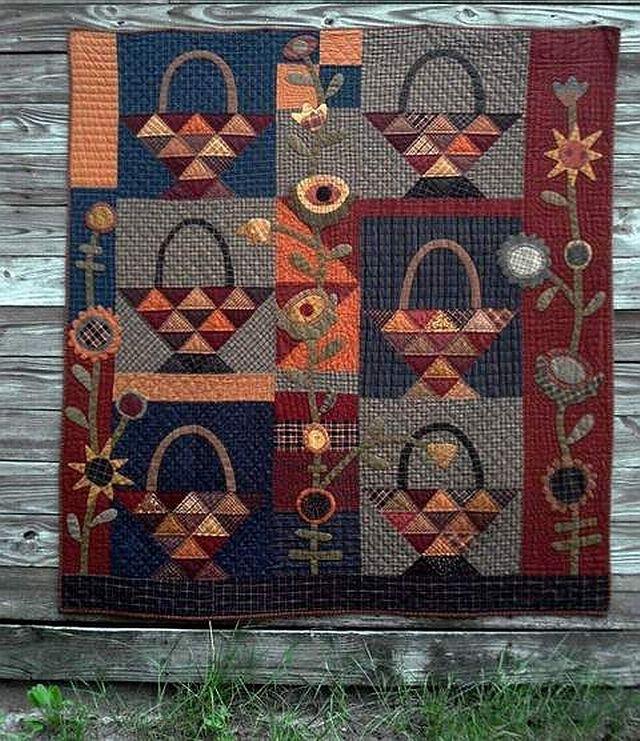 A Tisket A Tasket-pieced/applique quilt.  LOVE this quilt!!! <3