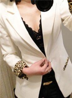 Impressive Slim Padded Shoulder Leopard Blazer