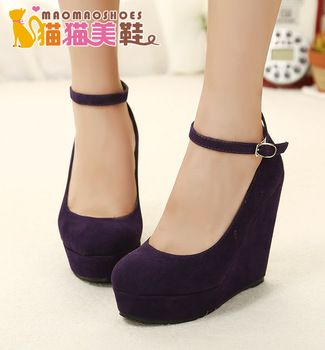 Sexy women's Strappy Nubuck Leather Lady pumps high heels Wedges Buckle Flock Platform club shoes feminino sapatos de salto alto