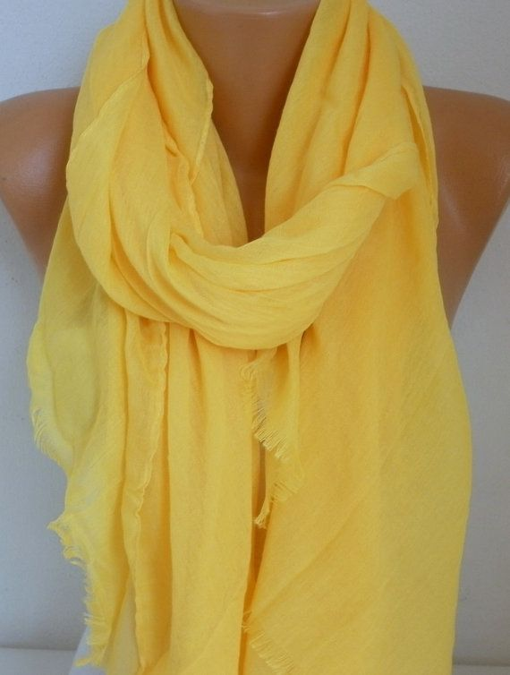 Yellow Cotton Scarf Soft Shawl Spring Summer Cowl by fatwoman