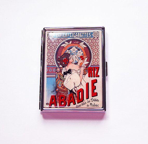 Französisch, Zigarettenetui, Slim Zigaretten-Etui, Metall-Wallet, Metall…
