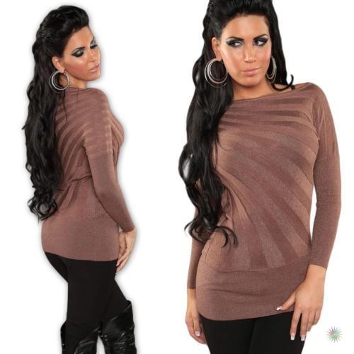 Damen-Pullover-Pulli-Fledermaus-Look-Strick-Sweatshirt-Sweater-lang-34-36-38-40