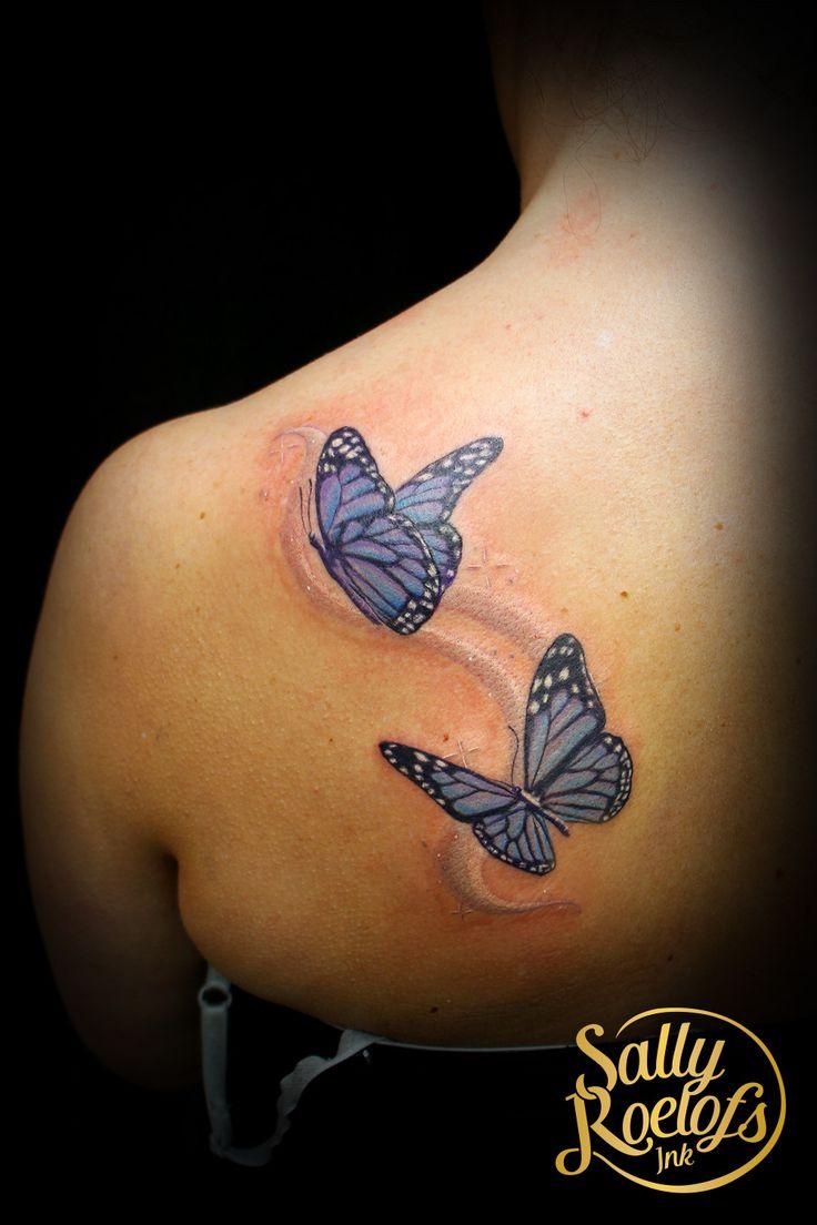 cute little butterflies with sparkles tattoo