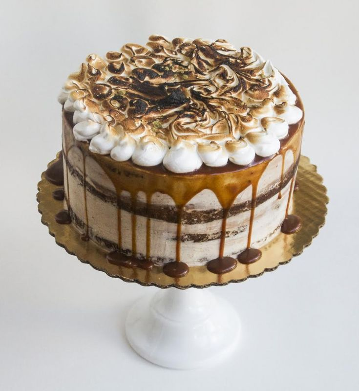 SALTED CARAMEL CAKE WITH BURNT MARSHMALLOW TOPPING RECIPE | Best Friends For Frosting