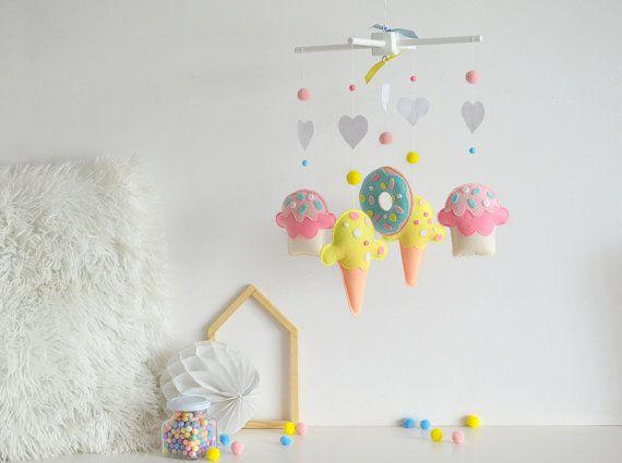 Baby mobile - Felt baby mobile - Sweet mobile - Ice cream mobile - Donuts mobile - Cupcake mobile-Nursery decor - Nursery mobile - Newborn