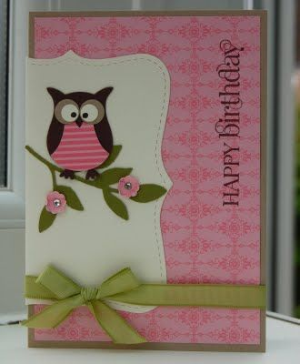 handmade birthday card ... punch owl dressed in pink ... like the layout for this card ... Stampin' Up!