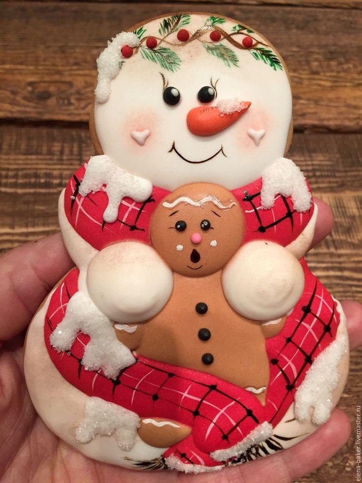 Купить Пряник снеговик - комбинированный, снеговик, пряник снеговик, пряник, пряники, пряничный человечек