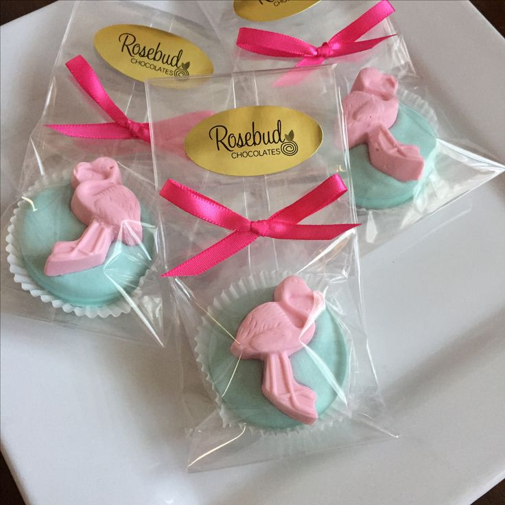 Chocolate Pink Flamingo Oreo Cookie Party Favors... Birthday Candy...flamingos, summer pool party www.rosebudchocolates.com
