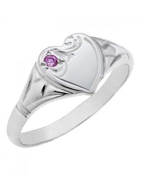 Signet Ring - PRINCESS HEART - Sterling Silver or 9ct Gold