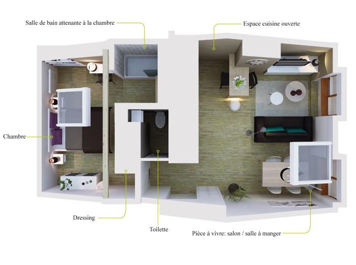 home staging d 39 un appartement destin la vente lyon render sketch illustration. Black Bedroom Furniture Sets. Home Design Ideas
