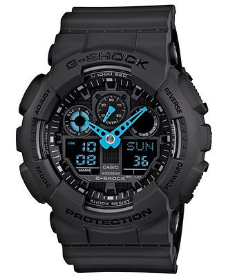 G-Shock Watch, Men's Analog-Digital Dark Gray Resin Strap 51x55mm GA100C-8A - G-Shock - Jewelry & Watches - Macy's