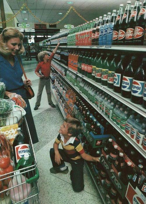 70's soda aisle, all glass bottles.