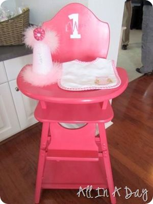 Paint an old wooden high chair for the birthday girl's pix.