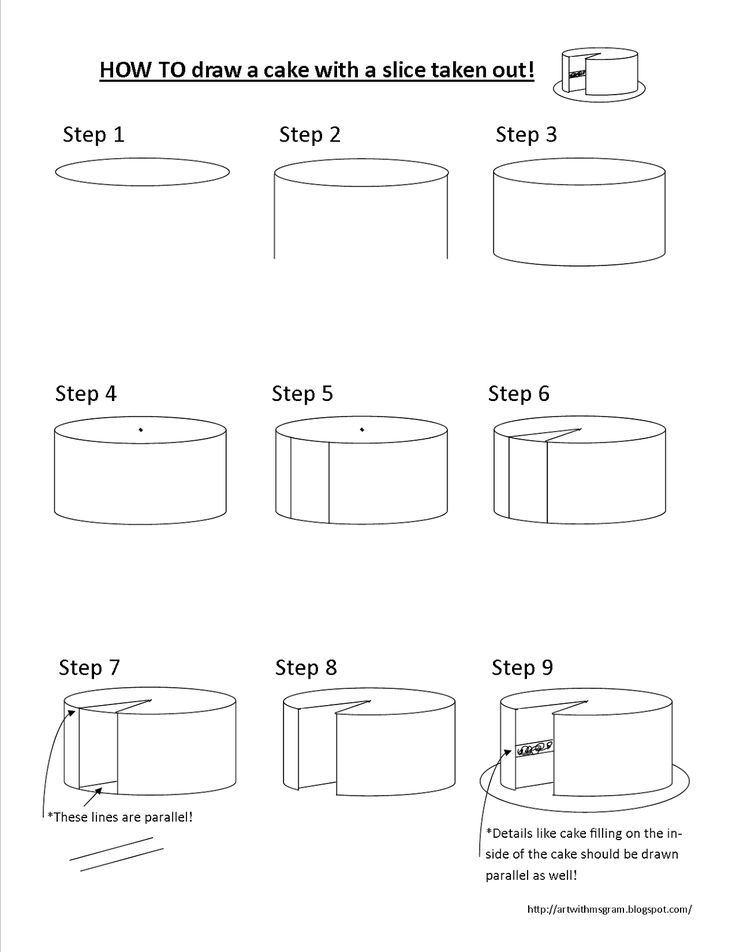 Step by step instructions for drawing a cake with a slice removed. cakewithslicedraw.png (1236×1600)