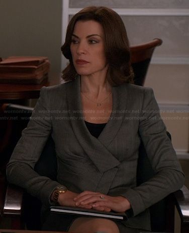 Alicia's grey crossover style jacket on The Good Wife.  Outfit Details: http://wornontv.net/21807/ #TheGoodWife
