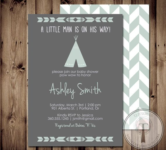 TEEPEE Baby Shower  Invitation, Indian Baby shower Invite, aztec baby shower invite,boy, invitation, Aztec, arrow,  pow wow on Etsy, $14.72 AUD