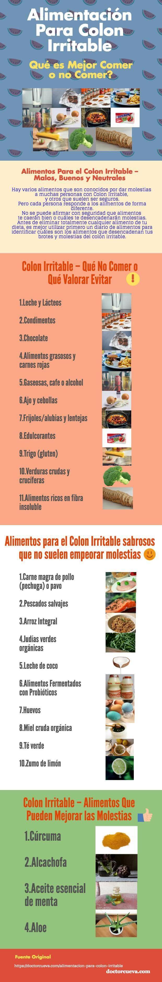 Consejos generales de alimentos a evitar para mejorar los síntomas del Síndrome de Intestino Irritable https://doctorcueva.com/alimentacion-para-colon-irritable/