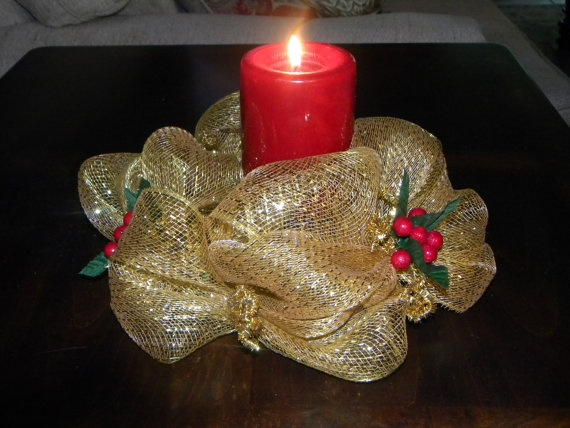 1000 images about candle holder deco mesh on pinterest for How to make christmas candle holders