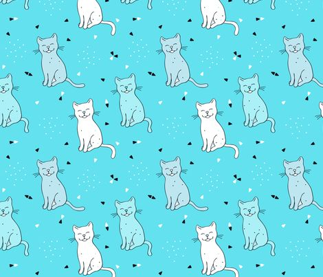 Happy Smiling Cat fabric by nossisel on Spoonflower - custom fabric