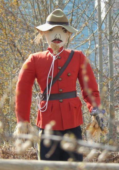 The iconic Fort Calgary garden scarecrow