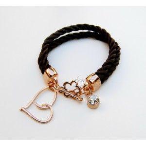 Satin Rope Heart & Swarovski Bracelet #rope bracelet