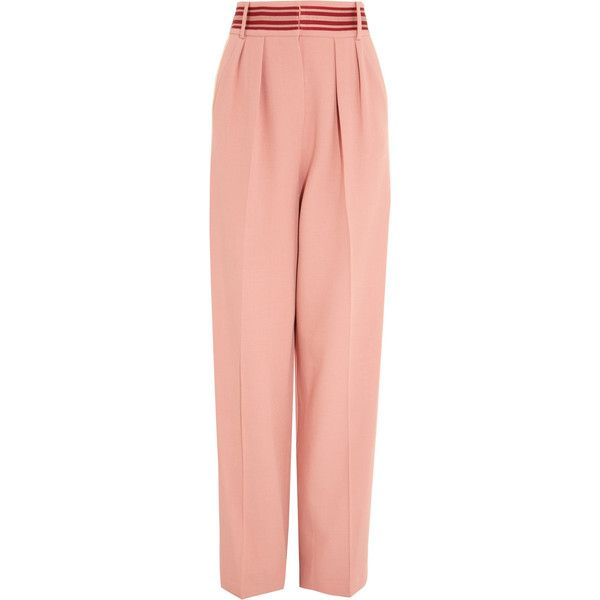 Roksanda Tillae striped cady wide-leg pants (€755) ❤ liked on Polyvore featuring pants, trousers, antique rose, wide-leg pants, stripe pants, red striped pants, wide leg summer pants and wide leg summer trousers