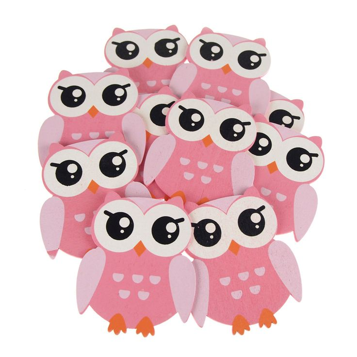 Animal Wooden Baby Favors, 5-inch, 10-pack, Pink Owl