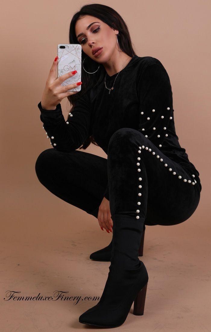 BLACK VELVET PEARL LOUNGEWEAR SET - CHARLIE - femmeluxefinery  #blackvelvet  #longwearset  #charlie  #cheap  #clothing  #dress  #uk  #femmeluxe  #femmeluxefinery  #women