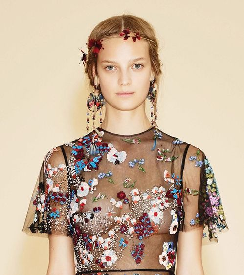 Folksy feather and bead earrings accent the richly embellished looks of the Cruise 2016 collection, with a foretaste of summer from Valentino available in-store now.